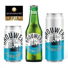 Introducing Brouwers bier (Supermarket Albert Heijn's new private label beer). The design was rewarded with a Gold Pentaward in September Beer Packaging, Packaging Design, Beverages, Drinks, Design Competitions, Beer Label, Can Design, Visual Communication, Craft Beer