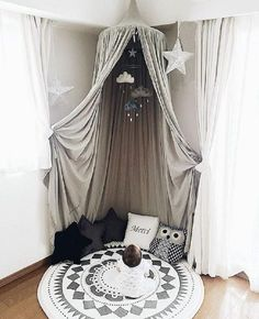 Soft, Foldable, cotton hanging tent in gray . A perfect addiotion to any kids room, play room or nursery! 4 color options.