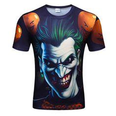 4cc2db46d175 Dark Knight Clown 3D T-shirt Digital Printing Pattern Short-sleeved Round  Neck Digital