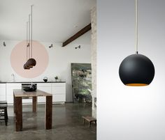 >>>the Topan VP6 haning lamp designed by Verner Panton. The beautiful black matte with golden inside is my favorite but the lamp comes in many different colors. I found the beautiful images of this loft were the lamp is featured at the website of &Tradition