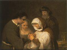 Arent de Gelder 1645 – 1727 Edna blesses Tobias and Sara oil on canvas (88 × 112 cm) — c. 1705-1710 Museum Museum Catharijneconvent, Utrecht