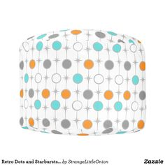 Retro Dots and Starbursts Round Pouf
