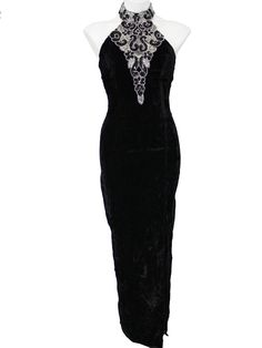 80s -Roberta- Womens black and silver acetate velveteen, sleeveless floor length cocktail dress. Elaborate sequined and beadwork flower and leaf designs on the front and on the halter style button back neck strap, with a high left front slit and back zip closure.