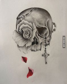 Skull and rose tattoo design!