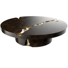 European Modern Wood and Brass Empire Center Coffee Table by Boca do Lobo Coffee Table Design, Round Coffee Table, Modern Coffee Tables, Famous Interior Designers, Luxury Interior Design, Table Furniture, Luxury Furniture, Furniture Makers, Center Table