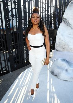Taraji P. Henson attended Spike TV's Guy's Choice in a Monique Lhuillier White Jumpsuit