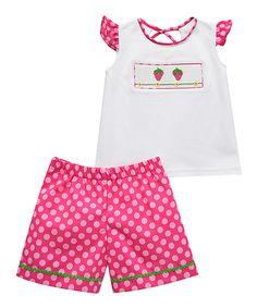 Another great find on #zulily! Vive La Fête White Strawberries Smocked Tee & Pink Shorts - Infant & Kids by Vive La Fête #zulilyfinds