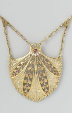 -Art Nouveau gold, enamel and ruby pendant necklace, by Lodewijk Willem van Kooten, Amsterdam, 1908-1911.