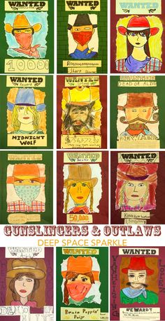 Kids draw and paint their own cowboy or cowgirl and create a WANTED poster. Les enfants dessinent et peignent leur propre cow-boy ou cow-girl et créent une affiche WANTED. Classroom Art Projects, School Art Projects, Art Classroom, Cow Girl, Drawing For Kids, Art For Kids, Drawing Drawing, Drawing Ideas, 2nd Grade Art