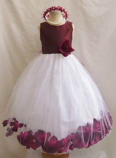 Flower Girl Dresses BURGUNDY Top Rose Petal by NollaCollection