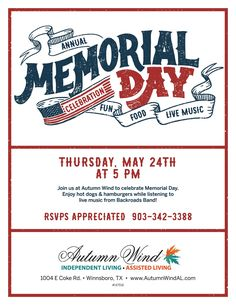 Our Memorial Day Celebration is just a few days away! Join us for BBQ and Music while making new friends! This event is free and open to the public.