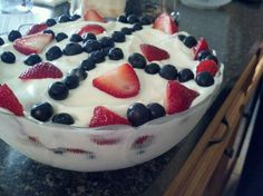 Red white & blue angel food triffle