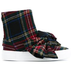 Joshua Sanders Tartan Wool High-Top Sneakers with Bow ($370) ❤ liked on Polyvore featuring shoes, sneakers, white, colorful sneakers, white high tops, high top sneakers, colorful high top sneakers and white sneakers