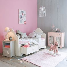 gris et de rose qui dominent more room girl rose kidsroom girls room ...