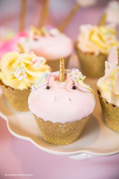 Unicorn cupcake from a Baby Unicorn 1st Birthday Party on Kara's Party Ideas | KarasPartyIdeas.com (32)