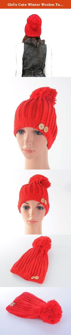 "Girl's Cute Winter Woolen Yarn Stocking Hat Knit Cap with Fuzzy Ball (Red). Soft and comfortable to wear. Keep your head warm in cold weather. Material: Woolen yarn blending. Length: 8.2"", Width: 7.8""; One size fis most. Because of differences of display color of each brand computer, small color difference is reasonable."