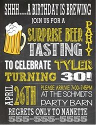 Personalized adult birthday party invitation - Surprise Beer Tasting Invitation.