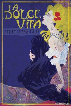 La Dolce Vita Art Nouveau Poster by Shutterstock