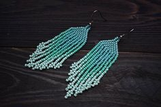Turquoise Ombre Earrings, Beaded Fringe Earrings, Indian Earrings, Boho Earrings, Gypsy Tribe Earrings, Tribal Earrings, Festival Earrings