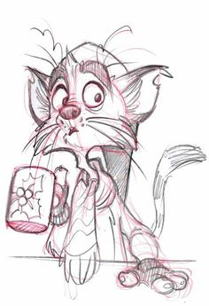 Hope you're keeping warm this holiday season!Coffee Cat by on Hey all! Hope you're keeping warm this holiday season! Cute Cartoon Drawings, Cartoon Sketches, Animal Sketches, Disney Drawings, Cartoon Art, Animal Drawings, Drawing Sketches, Cat Character, Character Design