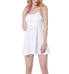 f322ace6408 Lady s Soild Sexy A-line Pageant Party Dresses White Size XXL at Amazon  Women s Clothing store