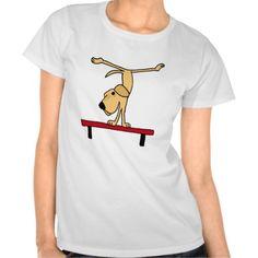 Yellow Labrador on Balance Beam Cartoon Tee Shirt #labrador #retriever #dog #balancebeam #gymnastics #funny #shirts And www.zazzle.com/petspower*