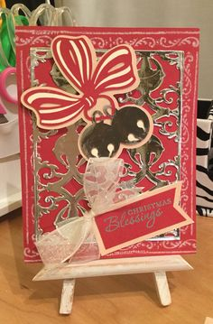 Christmas Card / Made with Anna Griffin Cartridge and Anna Griffin Holiday Bells Die Cut / Handcrafted By Cindy Babich (Cindyswishestogive 2015)