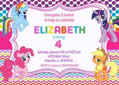 My Little Pony Chevron Rainbow Birthday Party Invitation