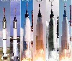 Project Mercury Manned Flights - Shepard, Grissom, Glenn, Carpenter, Schirra and Cooper.