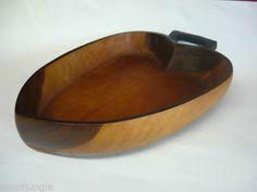 Vintage HEART SHAPED ROSEWOOD SALAD BOWL WOOD MID CENTURY MODERN TIKI BAR HAWAII