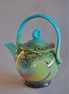 Pretty aqua tea pot