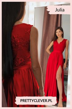 2244efd44f Długa sukienka na wesele z koronkową górą Julia - czerwona