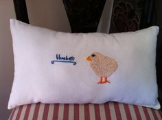 cute chick embroidery turned into a pillow from my SewLA class - by Stella [age 14 i think?]