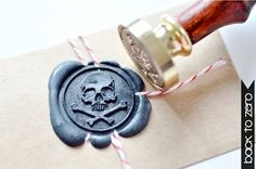 Wrap twine around invitations and seal with wax seal! Wax Seal Stamp Pirate Skull Bone by Backtozero on Etsy Pirate Birthday, Pirate Theme, Skull Decor, Skull Art, Decoration Pirate, Quilts Vintage, Pirate Wedding, Steampunk Accessoires, Crochet Amigurumi