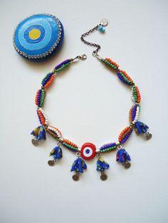Turuncu Nazar Boncuklu Otantik Kolye Loom Bracelet Patterns, Bead Loom Bracelets, Love Bracelets, Fabric Jewelry, Beaded Jewelry, Wire Jewelry, Seed Bead Necklace, Beaded Necklace, Handmade Necklaces