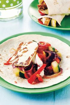 fajitas with halloumi, peppers and zucchini My Cookbook, Halloumi, Fajitas, Thai Red Curry, Zucchini, Sandwiches, Tortillas, Veggies, Food And Drink