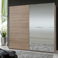 Quest Oak Robe 2 Door Sliding Wardrobe With 1 Mirrored Door