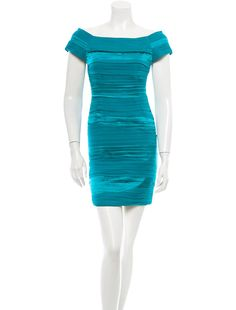 Teal Alice + Olivia silk pleated sheath dress with short sleeves and back antique silver-tone zip closure.