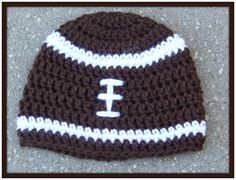 Crochet Baby Hat,  Football Hat, Brown and White, Newborn, Children, Beanie. $12.00, via Etsy.