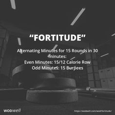 """Fortitude"" WOD - Alternating Minutes for 15 Rounds in 30 minutes: Even Minutes: Calorie Row; Hero Workouts, Weight Training Workouts, Body Workouts, Training Tips, Rower Workout, Amrap Workout, Crossfit Workouts At Home, Travel Workout, Rowing Wod"