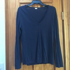 Navy J. Crew V-Neck Cotton Sweater J. Crew's classic cotton sweater. V-neck silhouette, in a classic navy color! Minor pilling, only noticeable when up very close to the fabric (see 3rd photo). J. Crew Sweaters V-Necks