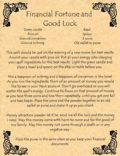 Financial fortune and good luck