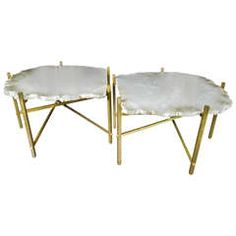 Alabaster and Brass Coffee Tables, Flair Edition