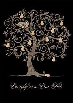 Just the tree; no partridge or writing. Brainstorming for small, black pear tree tattoo