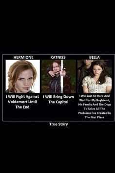 True Story of Hermione Granger from Harry Potter, Katniss Everdeen from The Hunger Games and Bella from Twilight