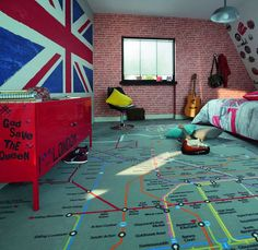 moquette plan de metro Londres chambre ado Saint Maclou