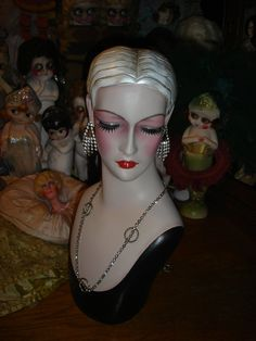 ********This is a rare mannequin bust mold that is approx. 16 1/2 tall with a head circumference of approx. 20 that I have completely painted in a