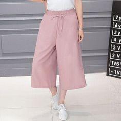 Pants Women Summer Seven Pants Casual High Waist Elastic Wide Leg Pants Chiffon Solid Fashion Trousers Plus Size XL 5 Color
