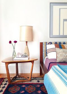 table + rug  Mid Century Modern | Eclectic Color | Bedroom Ideas | Bedside Tables | Nightstand Furniture | Home Design
