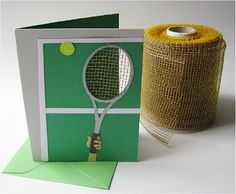 Tennis Anyone?  Cool cut out on raquet.  Great thank you card for the coach.